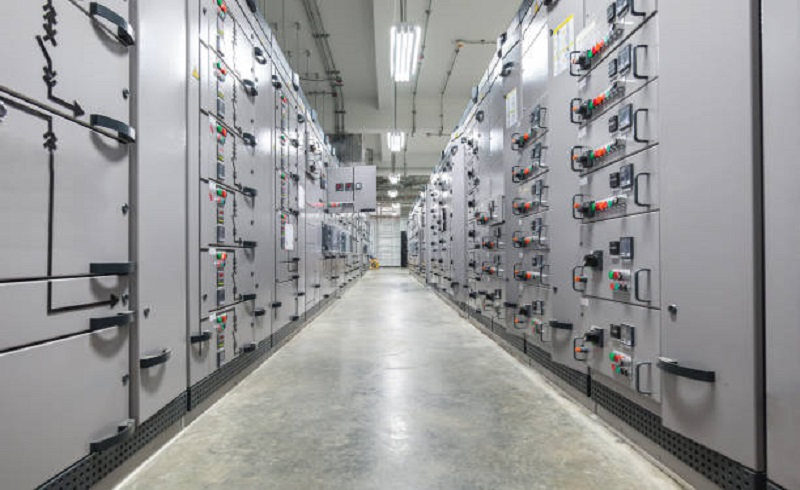 Switch panel of switchgear electrical room at power plant.